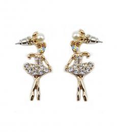 Golden Ballerina Dancer Earrings