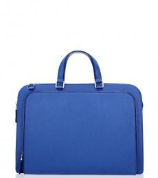 Prada Blue Zip Pocket Large Briefcase Bag