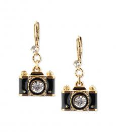 Betsey Johnson Gold Camera Drop Decorative Earrings