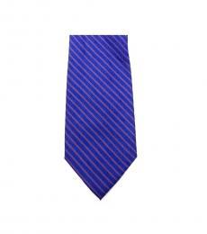 Michael Kors Blue Dapper Striped Slim Silk Tie