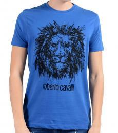 Roberto Cavalli Blue Graphic Lion Crewneck T-Shirt