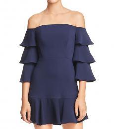 BCBGMaxazria Dark Navy Tiered OffShoulder Mini Dress