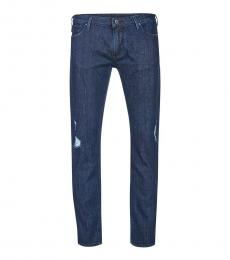 Armani Jeans Blue Ribbed Detail Jeans