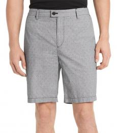Grey Classic-Fit Flat-Front Shorts