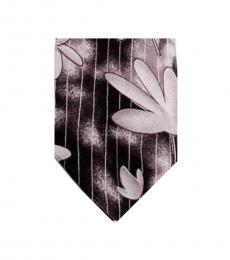Grey Elegant Floral Print Tie