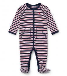 Baby Boys Navy Striped Coverall