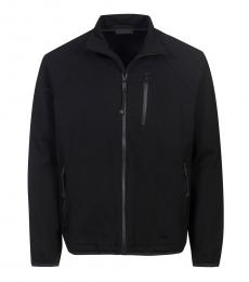 Black Solid Zippered Jacket