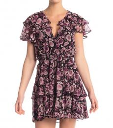 Black Pink Miley Floral Ruffled Mini Dress