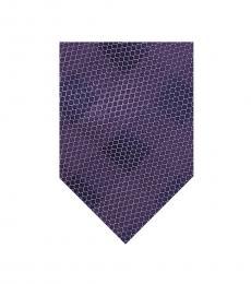 Michael Kors Purple Mesh Construction Check Tie