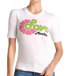 Love Moschino White Free Love Intarsia Sweater