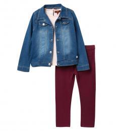 7 For All Mankind 3 Piece Jacket/T-Shirt/Leggings Set (Little Girls)
