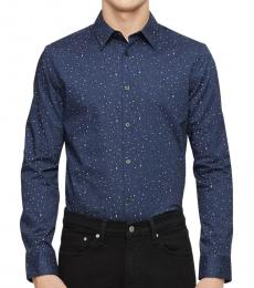 Speckled Blue Paisley Dot Button-Down Shirt