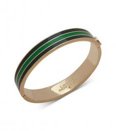 Gold-Green Stripe Bangle Bracelet