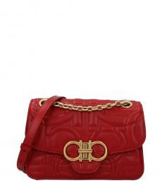 Salvatore Ferragamo Red Gancini Small Shoulder Bag