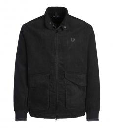 Fred Perry Black Logo Embroidery Zipper Jacket