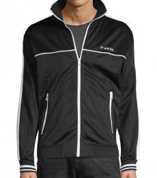 Black Sleeve-Tape Zip-Front Jacket