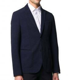 Navy Blue Textured Single-Breasted Blazer
