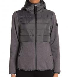 Michael Kors Grey Hooded Quilted Zipper Jacket