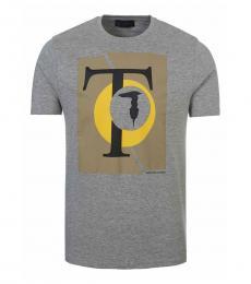Trussardi Grey Graphic Logo T-Shirt