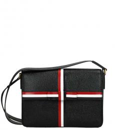 Thom Browne Black Striped Medium Messenger Bag