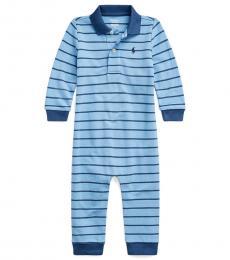 Ralph Lauren Baby Boys Fall Blue Mesh Polo Coverall