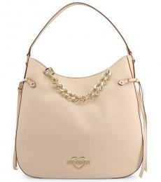 Love Moschino Beige Chain Large Hobo