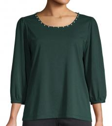 Karl Lagerfeld Forest Faux Pearl-Trimmed Top