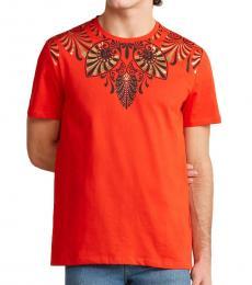 Orange Graphic Neck T-Shirt