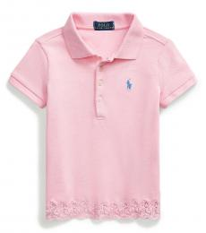 Ralph Lauren Little Girls Carmel Pink Lace-Hem Polo