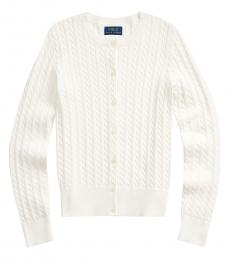 Ralph Lauren Girls Trophy Cream Cable-Knit Cardigan