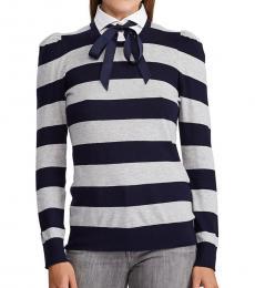 Lauren Navy Point Collar Striped Sweater