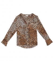 Calvin Klein Leopard Flared High-Low Top