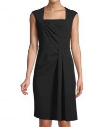 Black Pleated Sheath Dress