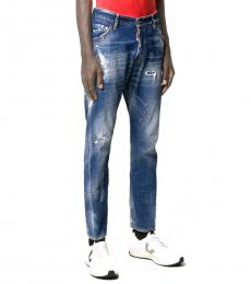 Blue Stained-Effect Straight Jeans