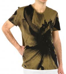 Neil Barrett Olive Floral Printed Crewneck T-Shirt