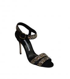 Manolo blahnik Black Crystals Jeweled Heels