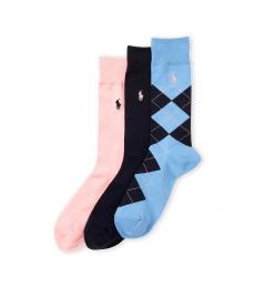 Multicolor 3-Pack Argyle Crew Socks