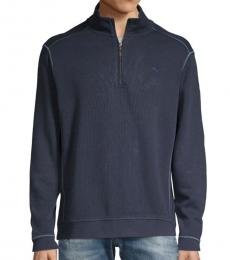 Tommy Bahama Navy Blue Half-Zip Cotton Sweatshirt