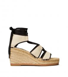 Tory Burch Cream Black Lace Up Wedges