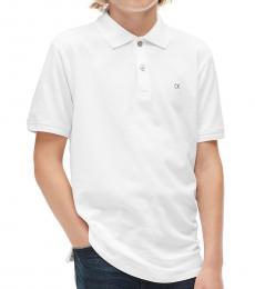 Calvin Klein Little Boys White Pique Polo