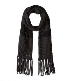 Calvin Klein Heathered Coal Striped Cable Scarf