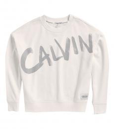 Calvin Klein White Brush Logo Sweatshirt