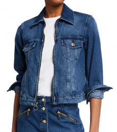Michael Kors Blue Pattern Denim Zip Jacket
