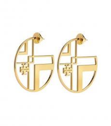 Tory Burch Gold Chevron Cut Out Logo Hoops Earrings