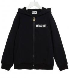 Moschino Little Girls Black Teddy Hoodie