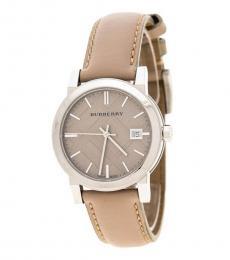 Beige-Silver Heritage Check Dial Watch