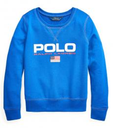 Ralph Lauren Girls Cruise Royal French Terry Graphic Pullover