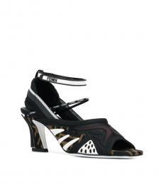 Fendi Black Signature Print Heels