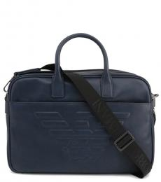 Emporio Armani Blue Logo Large Briefcase Bag