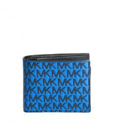 Michael Kors Blue-Black Raised Logo Passcase Wallet